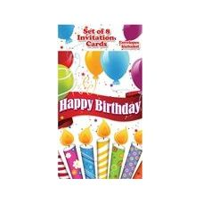144 Units of Happy Birthday Candles with Balloons Invitations - 8CT. - Invitations/Cards