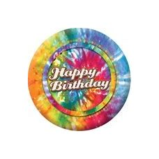 "72 Units of Happy Birthday Tie Dye 9"" Plate - 8CT. - Party Paper Goods"