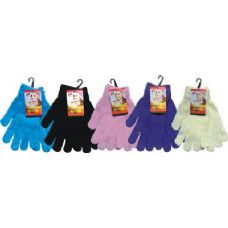 48 Units of Ladies Chenille Glove Asst Colors - Knitted Stretch Gloves