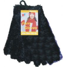 36 Units of Furry Gloves Asst Colors BLACK ONLY - Winter Gloves