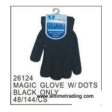 72 Units of Black Magic Glove With Rubber Dots - Knitted Stretch Gloves