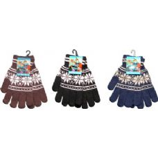 144 Units of Snow Flake Print Magic Glove - Knitted Stretch Gloves