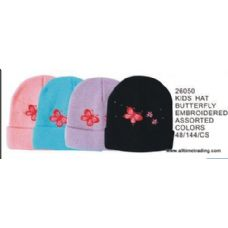 144 Units of Kids Hat With Butterfly Embroidery