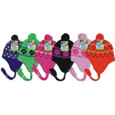 48 Units of Neon Crazed Fleece Lined Winter Hat - Winter Helmet Hats