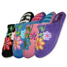 48 Units of Ladies Plush Slipper With Flower Embroidery - Womens Slippers