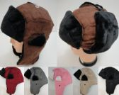 12 Units of Aviator Hat with Fur Trim--Suede - Trapper Hats