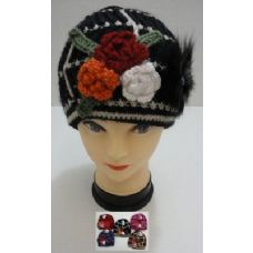 72 Units of Hand Knitted Fashion Cap--3 Flowers & Fur - Fashion Winter Hats