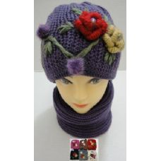 72 Units of Hand Knitted Fashion Hat & Scarf Set--2 Flowers - Winter Sets Scarves , Hats & Gloves