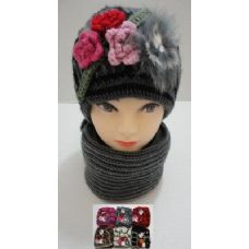 72 Units of Hand Knitted Fashion hat & Scarf Set--3 Flowers & Fur - Winter Sets Scarves , Hats & Gloves