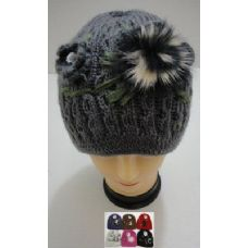 72 Units of Hand Knitted Fashion Hat--1 Flower & Fur - Fashion Winter Hats