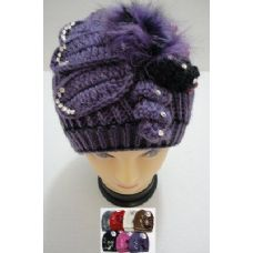 36 Units of Hand Knitted Fashion Cap--Rhinestones-Beads-Fur - Fashion Winter Hats