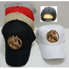 72 Units of Brown Horse Hat with Shadow [Shadow on Bill] - Baseball Caps & Snap Backs