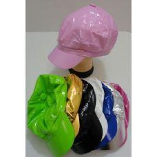 120 Units of Glossy Leather-Like Newsboy Hat - Baseball Caps & Snap Backs