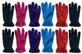 6 Units of Ladies Warm Fleece Gloves, Packed Assorted Colors