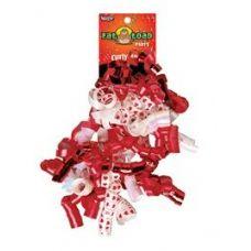 192 Units of Curled Ribbon Bow - Red Hearts, Pegable Single - Bows & Ribbons