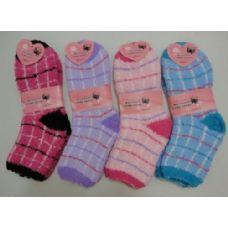 144 Units of Fuzzy Socks 9-11 [plaid] - Womens Fuzzy Socks