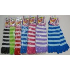 240 Units of Fuzzy Toe Socks-[Stripes] - Women's Toe Sock