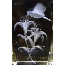24 Units of 3D Laser Etched Crystal-1 Hummingbird&Flower - Etched Crystal Figurines