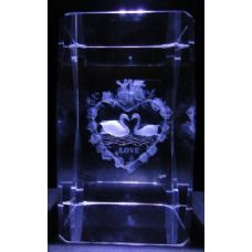 24 Units of 3D Laser Etched Crystal-2 Swans LOVE - Etched Crystal Figurines