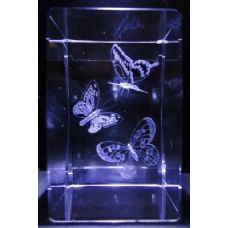 24 Units of 3D Laser Etched Crystal-3 Butterflies - Laser Etched Crystal