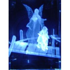 24 Units of 3D Laser Etched Crystal-Angel with Kids - Laser Etched Crystal