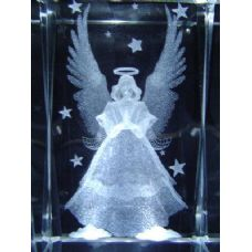 24 Units of 3D Laser Etched Crystal-Angel with Stars - Etched Crystal Figurines