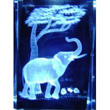 24 Units of 3D Laser Etched Crystal-Elephant - Etched Crystal Figurines