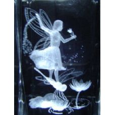 24 Units of 3D Laser Etched Crystal-Fairy with Dragonfly - Laser Etched Crystal