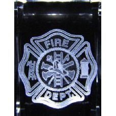 24 Units of 3D Laser Etched Crystal-Fire Department - Laser Etched Crystal