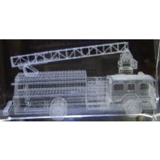 24 Units of 3D Laser Etched Crystal-Firetruck - Etched Crystal Figurines