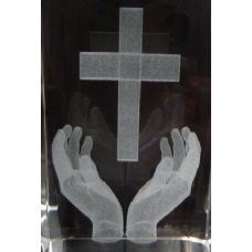 48 Units of 3D Laser Etched Crystal-Hands Holding Cross - Etched Crystal Figurines