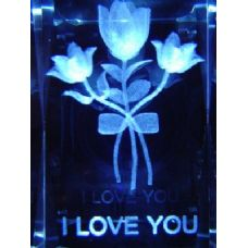 48 Units of 3D Laser Etched Crystal-I Love You-3 Flowers - Etched Crystal Figurines