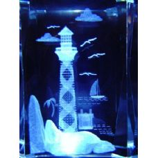 48 Units of 3D Laser Etched Crystal-Lighthouse with Rock - Etched Crystal Figurines