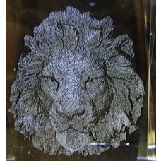 48 Units of 3D Laser Etched Crystal-Lion Head - Etched Crystal Figurines