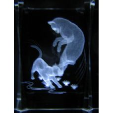 48 Units of 3D Laser Etched Crystal-Playing Cats - Laser Etched Crystal