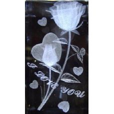 48 Units of 3D Laser Etched Crystal-Roses with Heart - Laser Etched Crystal