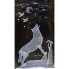 48 Units of 3D Laser Etched Crystal-Wolf with Moon - Etched Crystal Figurines