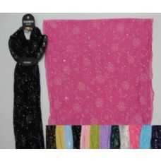 144 Units of Sheer Sparkle Scarf with Printed Flowers - Womens Fashion Scarves