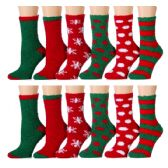 144 Units of Ladies Crew 9-11 Fuzzy Christmas Socks # 24209 - Womens Holiday Themed Socks