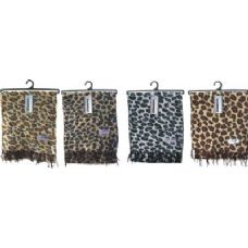 48 Units of Ladies Leopard Print Woven Cashmere Feel Scarf #21017 - Winter Scarves