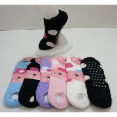 240 Units of  Non-Slip Fuzzy Footie--Polka Dots & Daisies 9-11 - Womens Fuzzy Socks