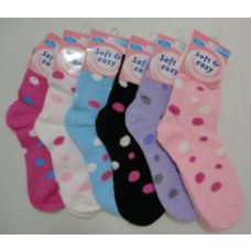 120 Units of Super Soft Socks 9-11 [Polka Dots] - Womens Fuzzy Socks