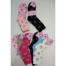 120 Units of Ladies Crew Socks 9-11 [Peace] - Womens Crew Sock