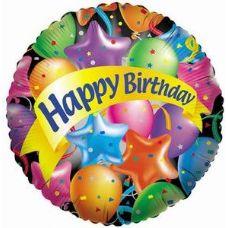 "100 Units of Mylar 18"" DS-Happy Birthday w/Festive Balloons - Balloons & Balloon Holder"