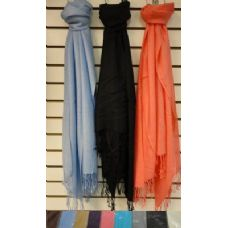 72 Units of Pashmina with Fringe--Solid Color - Winter Pashminas and Ponchos