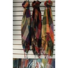 72 Units of Pashmina with Fringe--Plaid with Peace Signs - Winter Pashminas