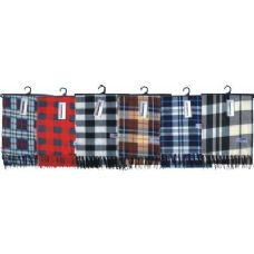 48 Units of Adults Plaid Fleece Winter Scarf - Winter Scarves