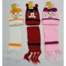 144 Units of Baby Knit Cap with Scarf--Bears