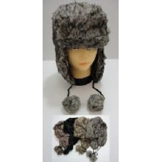 72 Units of Bomber Hat with PomPom--Faux Fur - Trapper Hats