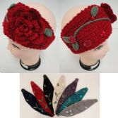 12 Units of Hand Knitted Ear Band--Flower & Leaves - Ear Warmers